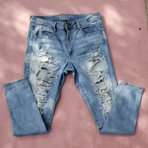 AE Destroyed Light Denim with White Fade